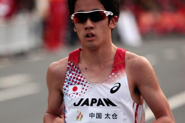 Daisuke Matsunaga winning the silver medal in the junior men's 10km at the 2014 IAAF World Race Walking Cup (Getty Images)