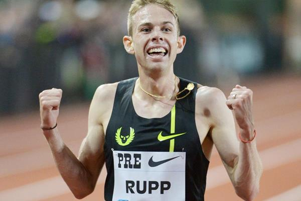 Galen Rupp sets a US 10,000m record at the IAAF Diamond League meeting in Eugene (Kirby Lee)