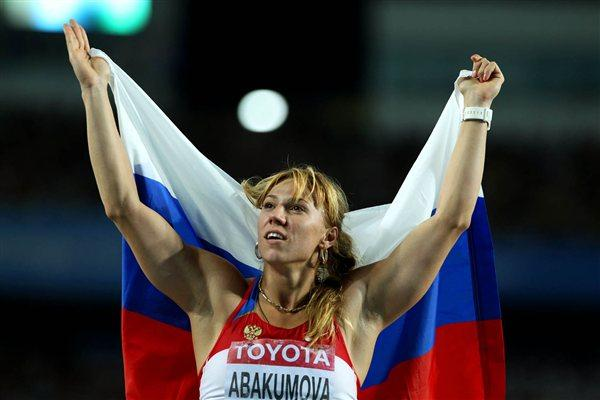 Maria Abakumova of Russia celebrates her gold medal in the women's javelin final (Getty Images)