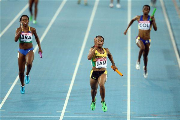 Jura Levy of Jamaica sprints to victory in the women's 4x100 metres relay heats  (Getty Images)