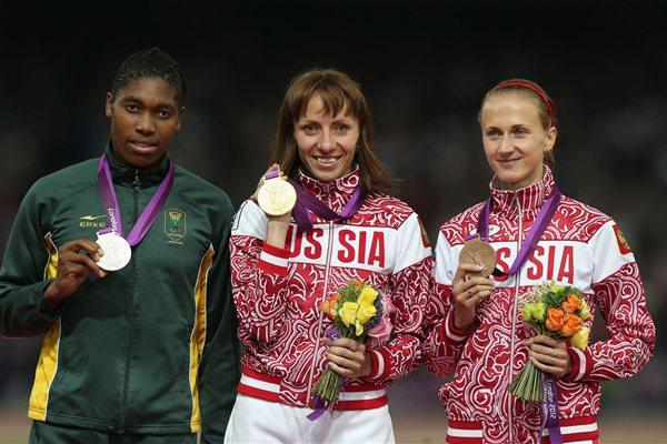 Silver medalist Caster Semenya of South Africa, gold medalist Mariya Savinova of Russia and bronze medalist Ekaterina Poistogova of Russia pose on the podium during the medal ceremony for the Women's 800m on Day 15 of the London 2012 Olympic Games at Olympic Stadium on August 11, 2012  (Getty Images)