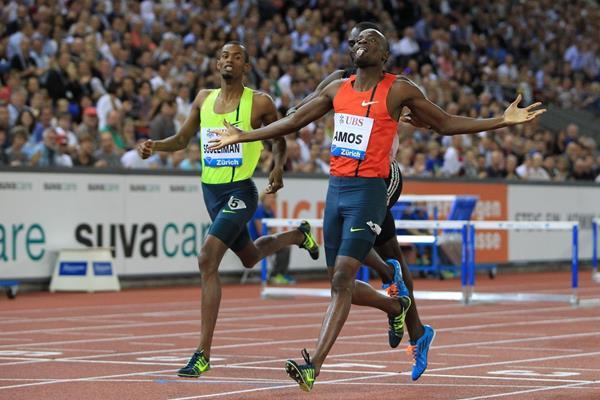 Nijel Amos winning the 800m at the 2014 IAAF Diamond League final in Zurich (Jean-Pierre Durand)