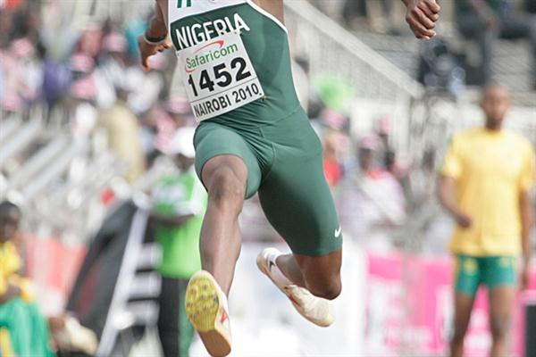 Nigeria's Oke Tosin leaps 17.22m to take the African title in Nairobi (Mohammed Amin)