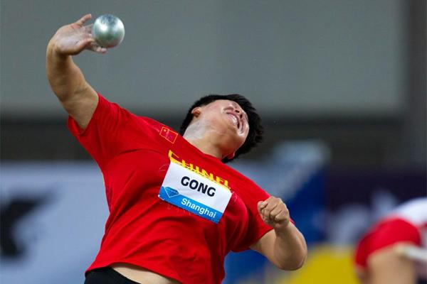 Gong Lijiao at the Shanghai Diamond League (Errol Anderson)