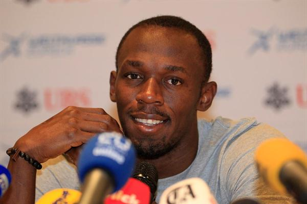 Usain Bolt at the pre-meet press conference in Zurich (Gladys Chai van der Laage)