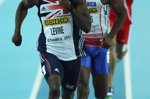 Nigel Levine of Great Britain and Nery Brenes of Costa Rica compete in the Men's 400 Metres semi final during day one - WIC Istanbul (Getty Images)