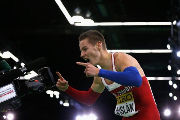 Pavel Maslak after winning the 400m at the IAAF World Indoor Championships Portland 2016 (Getty Images)