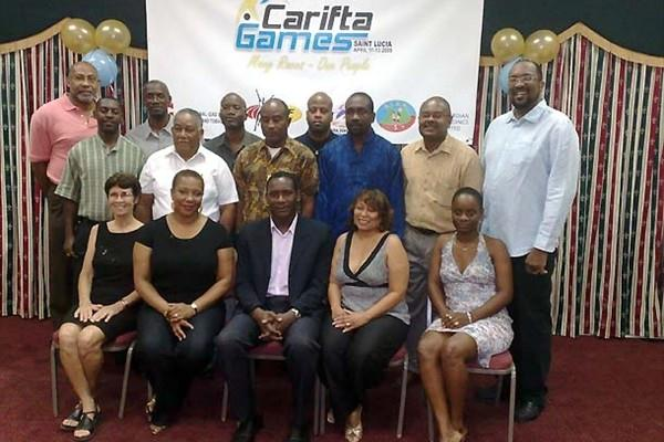 CARIFTA meeting - McCook (standing second from left; middle row) with LOC members, sponsors and NACAC delegates (Terry Finisterre)