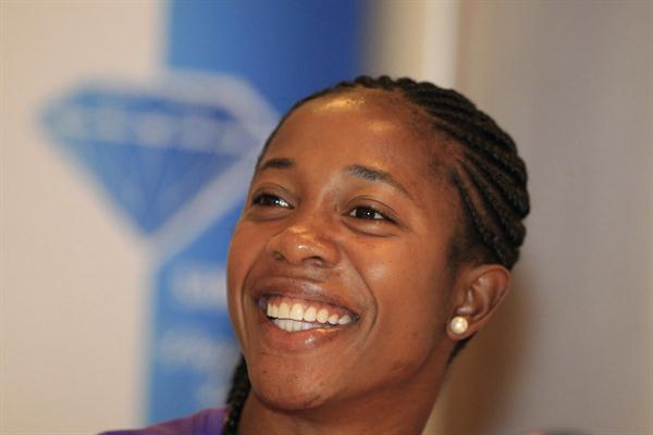 Shelly-Ann Fraser-Pryce at the Zurich press conference (Gladys Chai van der Laage)
