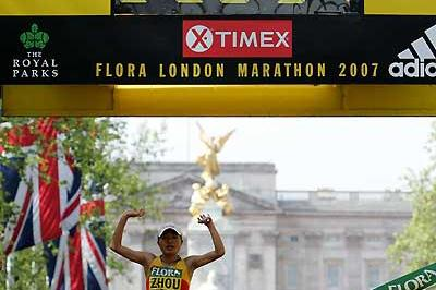 Zhou Chunxiu wins in London (Getty Images)