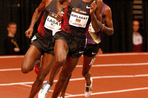 Silas Kiplagat takes down Bernard Lagat at Madison Square Garden (Victah Sailer)