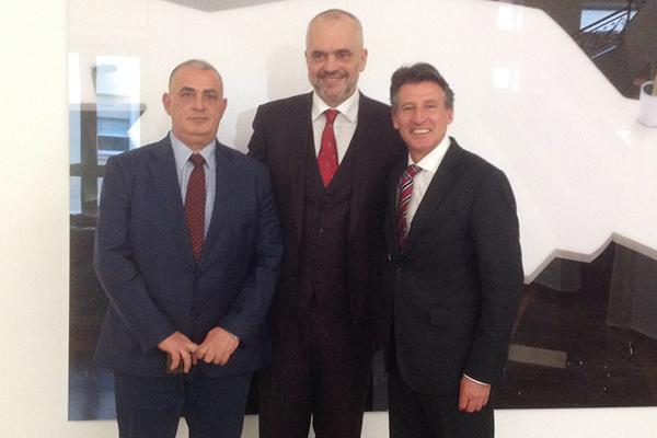 Albanian Athletics President Gergj Ruli, Albanian Prime Minister Edi Rama and IAAF President Sebastian Coe ()