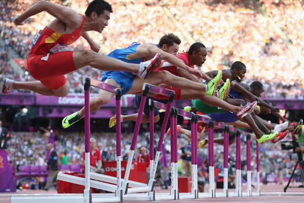 (L-R) Wenjun Xie of China, Konstantin Shabanov of Russia, Aries Merritt of the United States, Andrew Turner of Great Britain and Selim Nurudeen of Nigeria compete in the Men's 110m Hurdles Semifinal on Day 12 of the London 2012 Olympic Games at Olympic Stadium on August 8, 2012  (Getty Images)