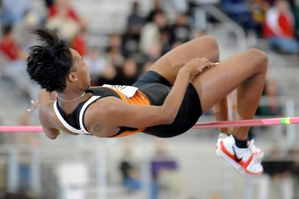 Destinee Hooker sails over 1.98m at the NCAA Indoor Championships (Kirby Lee)