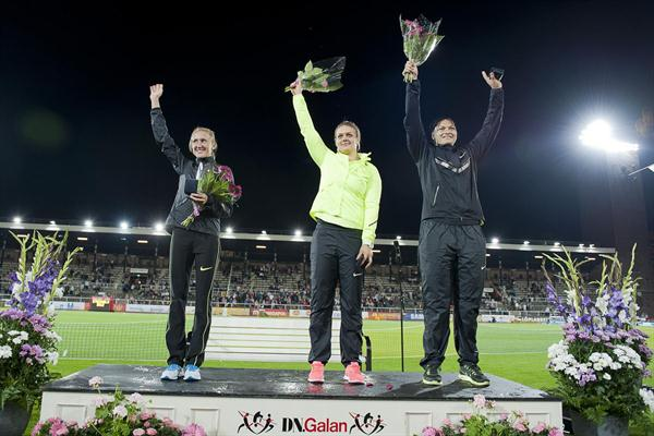 Three meeting records, three 1-carat Diamonds in Stockholm: Yuliya Zaripova (Steeple), Sandra Perkovic (DT) and Valerie Adams (SP) (Deca Text & Bild)