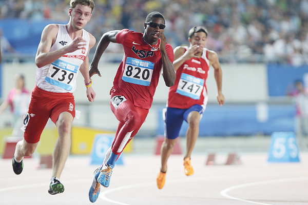 Noah Lyles on his way to winning the 200m at the 2014 Youth Olympic Games (Getty Images)