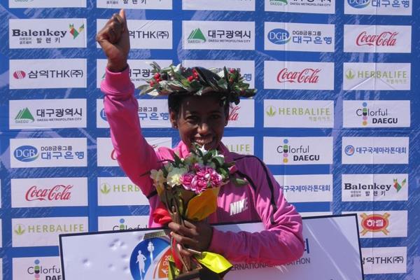 Mulu Seboka after winning the 2014 Daegu International Marathon (Robert Wagner / organisers)