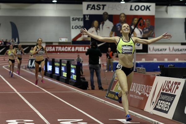 Gabe Grunewald wins the 3000m at the US Indoor Championships (Randy Miyazaki)