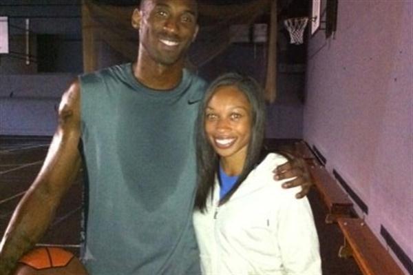 Allyson Felix with NBA star Kobe Bryant (Freelance)