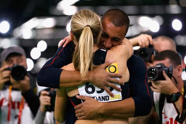 Ashton Eaton embarces his wife Brianne Theisen Eaton after she wins the pentathlon at the IAAF World Indoor Championships Portland 2016 (Getty Images)