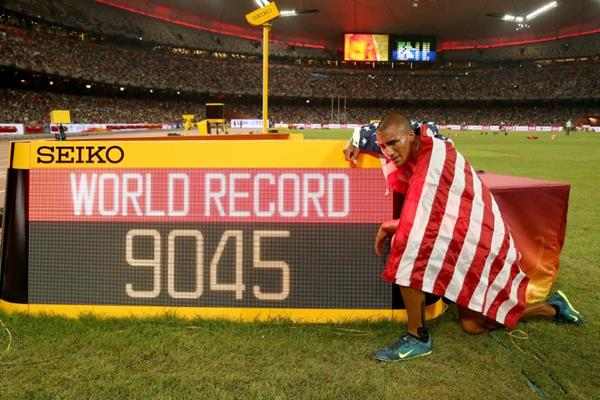 Ashton Eaton with his decathlon world record figures at the IAAF World Championships, Beijing 2015 (Getty Images)