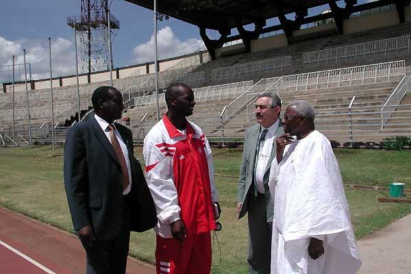 Nyayo National Stadium. l to r: Isaiah Kiplagat, David Kitur, Pierre Weiss, Lamine Diack (c)