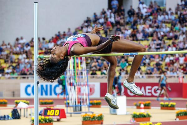 Brigetta Barrett, winner of the High Jump at the 2013 Monaco Diamond League (Philippe Fitte)
