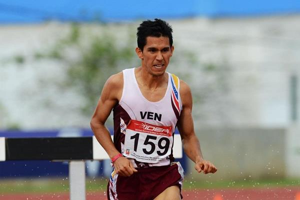 Jose Gregorio Pena winning the 3000m Steeplechase at the 2013 South American Championships (Eduardo Biscayart)
