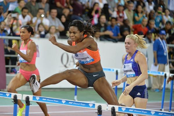Jasmin Stowers on her way to winning the 100m hurdles in 12.35 at the IAAF Diamond League meeting in Doha (DECA Text & Bild)