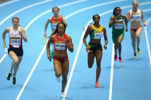Natasha Hastings on the first leg of the 4x400m at the 2014 IAAF World Indoor Championships in Sopot (Getty Images)