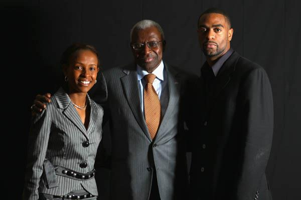 IAAF President Lamine Diack with World Athletes of the Year Meseret Defar and Tyson Gay (Getty Images)