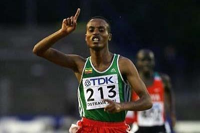 Legese Lamiso of Ethiopia wins the 2007 world youth steeplechase title (Getty Images)