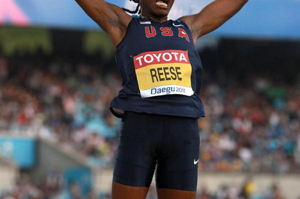 Brittney Reese of United States fighting forthe first place in the women's long jump final during day two  (Getty Images)