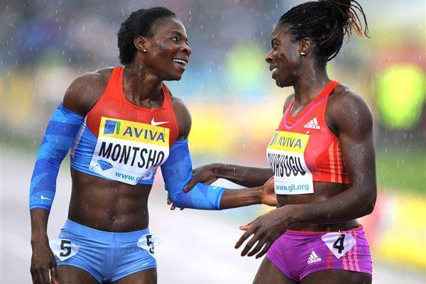 Amantle Montsho congratulates Christine Ohuruogu  (Mark Shearman )
