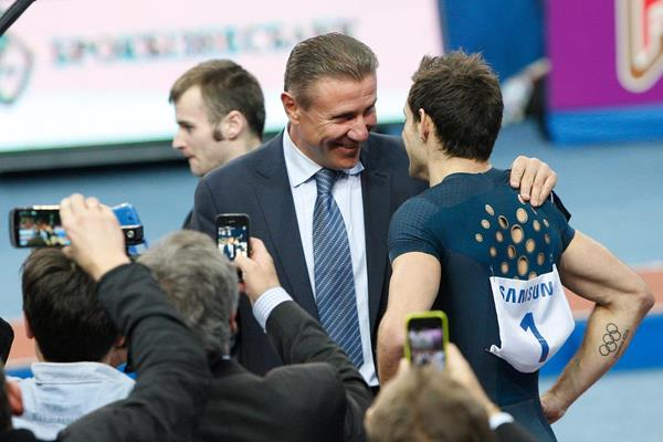 Sergey Bubka and Renaud Lavillenie at the 2014 Pole Vault Stars meeting in Donetsk (Valeriy Bilokryl/ Jean-Pierre Durand)