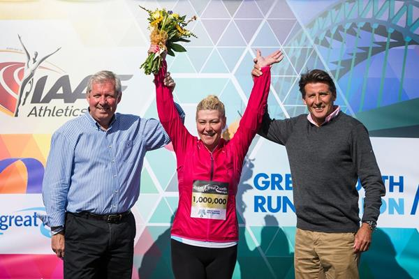 Bupa Great North Run founder Brendan Foster, one millionth finisher Tracy Cramond and IAAF vice president Sebastian Coe (Organisers)