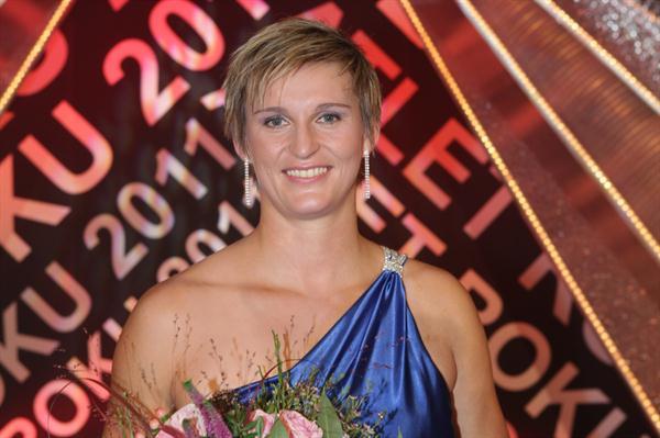 Barbora Spotakova after winning the Czech athlete of the year award for the fifth time (Tomáš Železný for atletika.cz)