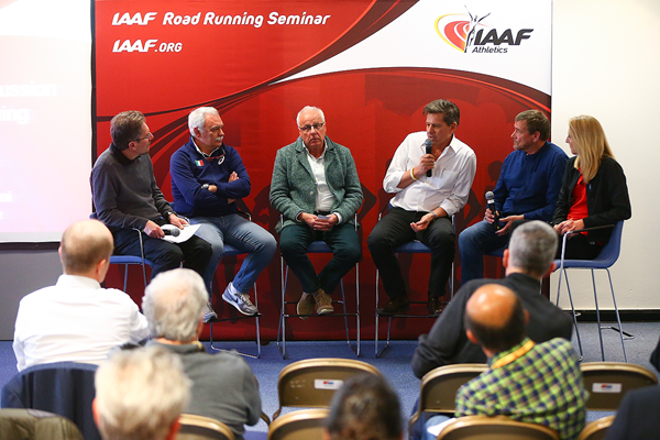 The round-table discussion at the IAAF Road Running Seminar in Cardiff (Getty Images)