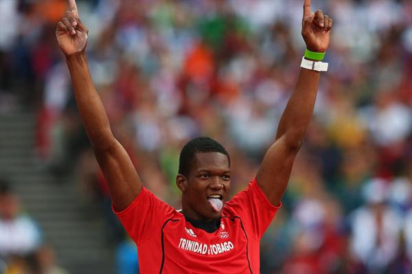 Keshorn Walcott of Trinidad and Tobago celebrates as he won the  Men's Javelin Throw Final  of the London 2012 Olympic Games on 11 August 2012  (Getty Images)