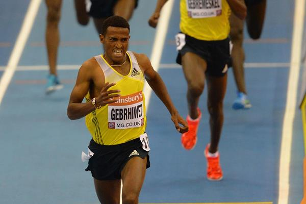Hagos Gebrhiwet winning over 3000m at the 2014 Sainsbury's Indoor Grand Prix in Birmingham (Getty Images )