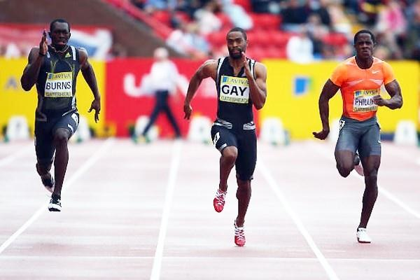 Tyson Gay running the 100m in Gateshead (Getty Images)