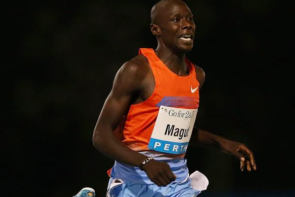 James Magut on his way to winning the mile in Perth (Getty Images)