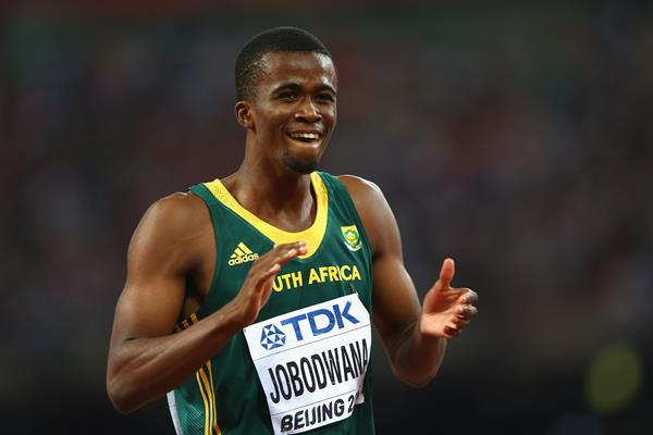 BEIJING, CHINA - AUGUST 27:  Anaso Jobodwana of South Africa celebrates after crossing the finish line to win bronze in the Men's 200 metres final during day six of the 15th IAAF World Athletics Championships Beijing 2015 at Beijing National Stadium on August 27, 2015 in Beijing, China.  (Photo by Ian Walton/Getty Images) (Getty Images)