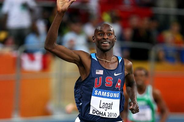 Bernard Lagat (USA) ends a wonderfully well judged race by taking the World Indoor 3000m gold in Doha, a title which he last won in 2004 (Getty Images)