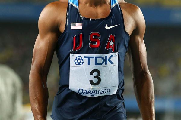 Ashton Eaton of United States celebrates after the 1500 metres in the men's decathlon during day two (Getty Images)