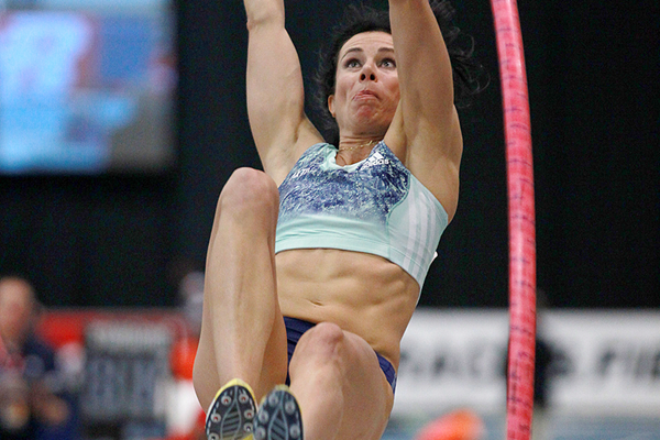 Jenn Suhr, winner of the pole vault at the New Balance Indoor Grand Prix in Boston (Andrew McClanahan)