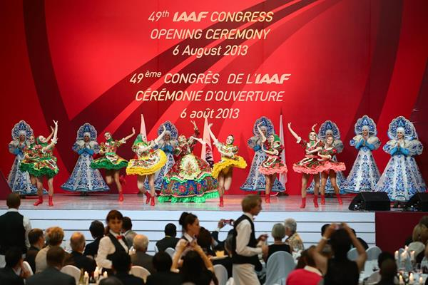 Moscow Music Hall dancers at the IAAF Congress Opening Dinner (Getty Images)