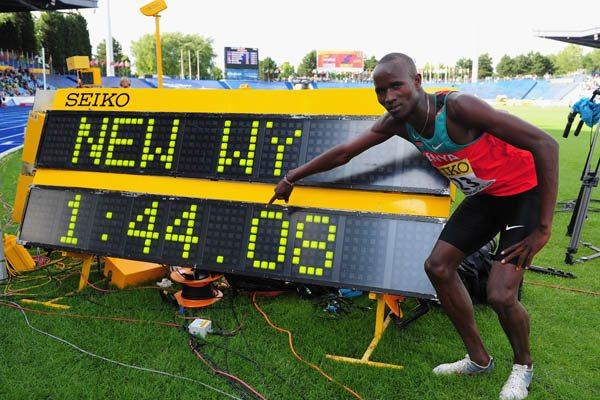 Leonard Kirwa Kosencha celebrates setting a new World Youth 800m best (Getty Images)