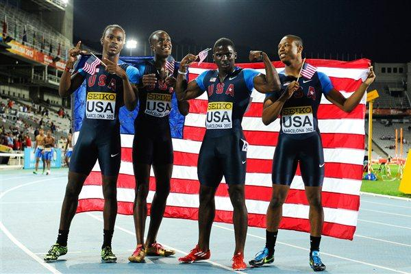 Tyreek Hill, Aldrich Bailey, Arthur Delaney and Aaron Ernest of United States pose after winning the gold medal on the Men's 4x100 metres Relay Final on the day five of the IAAF World Junior Championships in Barcelona on 14 July 2012 (Getty Images)