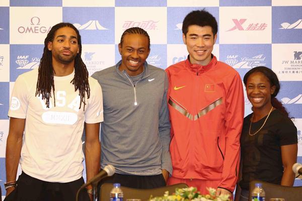 Jason Richardson, Aries Merritt, Xie Wenjun and Shelly-Ann Fraser-Pryce at the Shanghai Diamond League press conference (Organisers)